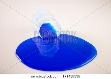 Blue Slime Spills Out Of Barrel