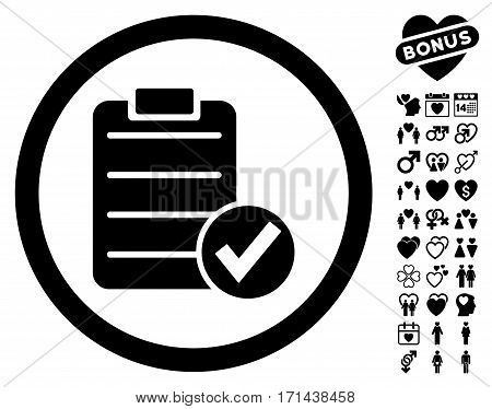 Apply Form icon with bonus romantic pictograph collection. Vector illustration style is flat iconic black symbols on white background.