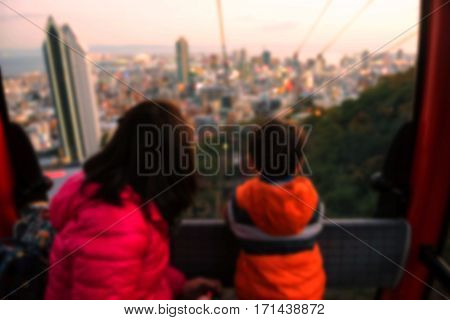 People In Cable Car Of Kobe Ropeway