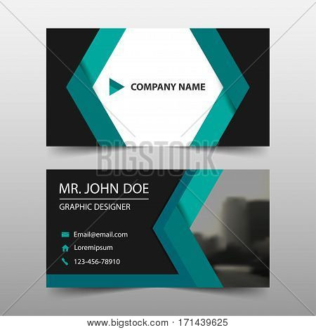 Green abstract corporate business card name card template horizontal simple clean layout design template Business banner template for website