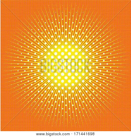 Pop art retro comic background with abstract sun, rays, sunshine vector
