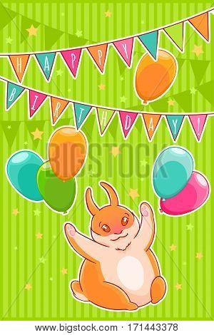 Joyful rabbit and balloons. Confetti stars, flags and garlands. Happy Birthday. Vector illustration.T-shirt print. Greeting card.