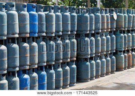 propane gas bottles, a lot of Danger gas bottle.