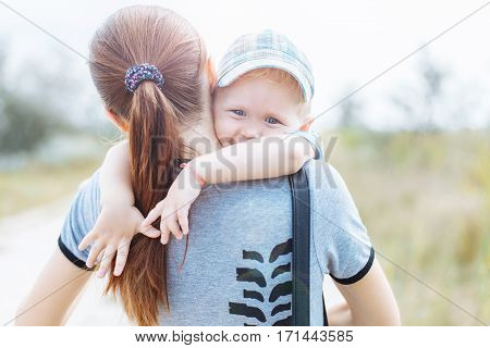 Happy Little Boy In Mother's Hands, Hugs, Smiles, Laughs,