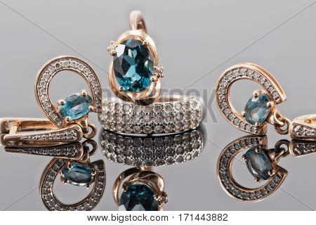 Set Of Gold Jewelry With Topaz Stones