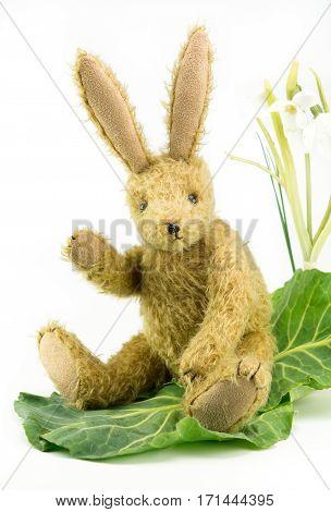 Cute Vintage Toy Bunny Rabbit Waving Hello.