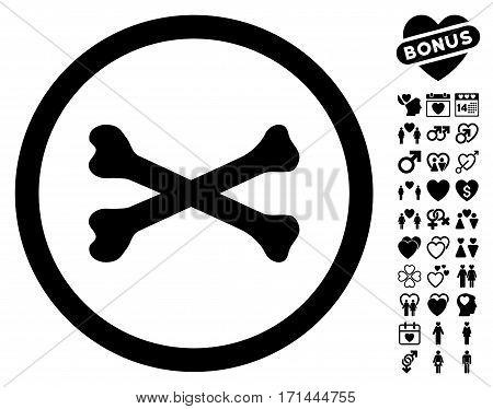 Bones Cross icon with bonus romantic graphic icons. Vector illustration style is flat iconic black symbols on white background.