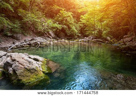 Beautiful nature, natural lagoon at summer sunny day. Lake in the Crimean mountains.