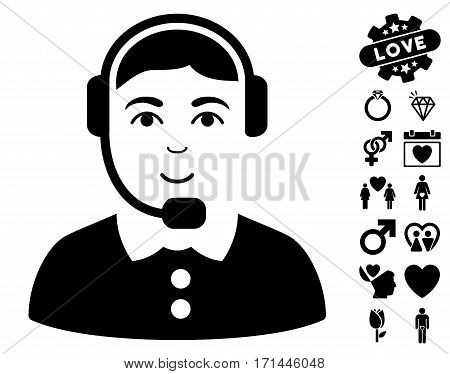 Call Center Operator pictograph with bonus decorative images. Vector illustration style is flat iconic black symbols on white background.