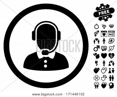 Call Center Operator pictograph with bonus decorative pictograms. Vector illustration style is flat iconic black symbols on white background.