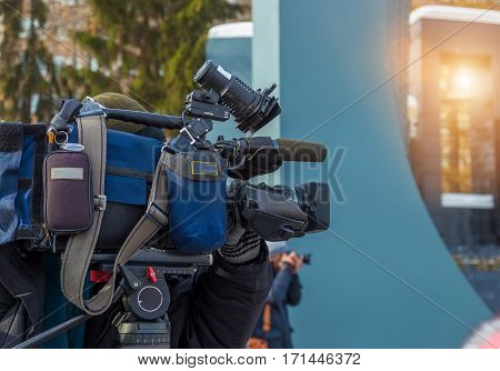 the television camera close-up on the street