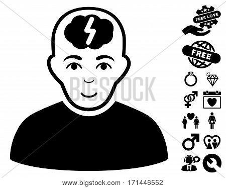 Clever Boy icon with bonus lovely images. Vector illustration style is flat iconic black symbols on white background.