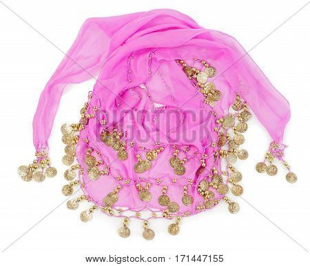 Traditional shawl decorated with coins for belly dancing isolated on white background