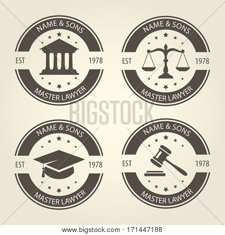Lawyer bureau emblems and labels round templates