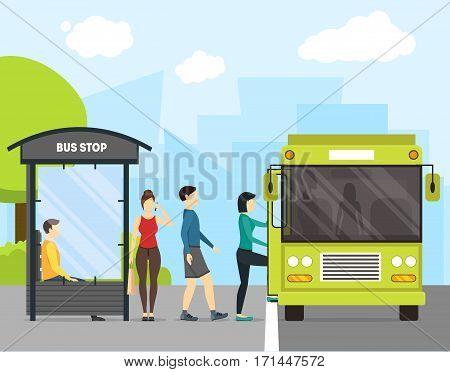 Cartoon Bus Stop with Transport and People on a Landscape Urban Background Flat Design Style. Vector illustration