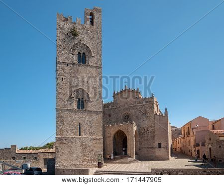 View Of The Main Cathedral Of Erice, Province Of Trapani. Sicily, Italy