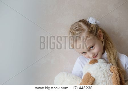 Smiling little girl holding a toy dog in the light background