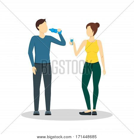Cartoon Drinking Water Man and Woman from a Glass and Bottle Health Care Concept Flat Design Style. Vector illustration