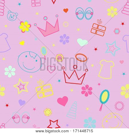girlish seamless pattern with crown, toy, teddy bear, face vector illustration pink background