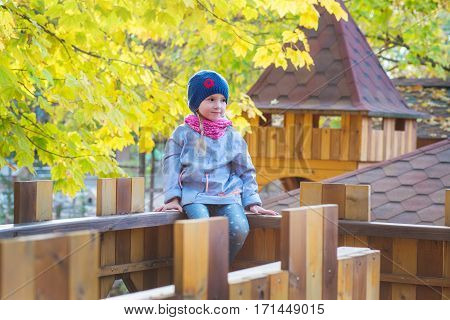 Autumn portrait of cute little girl 5 years