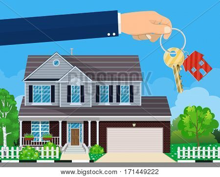 hand with house key and cottage on the background. Real estate concept. vector illustration in flat style