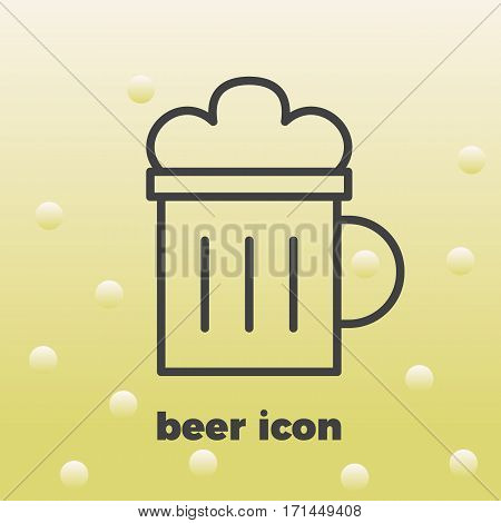 Mug of beer icon thin line for web and mobile, modern minimalistic flat design. Vector icon with dark grey outline and offset colour on light grey background.