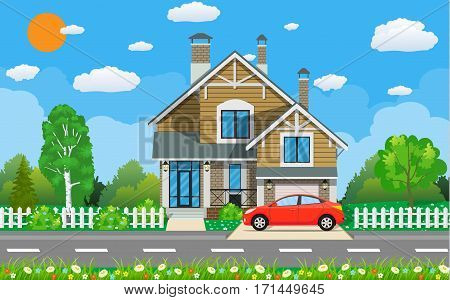 Private suburban house with car, trees, road, sky and clouds. Vector illustration in flat style