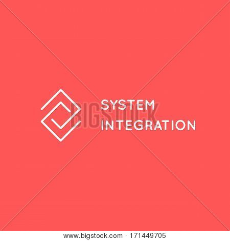 System Integration abstract logo. Warehouse Logistic line art logotype concept. Business consulting company business card template.