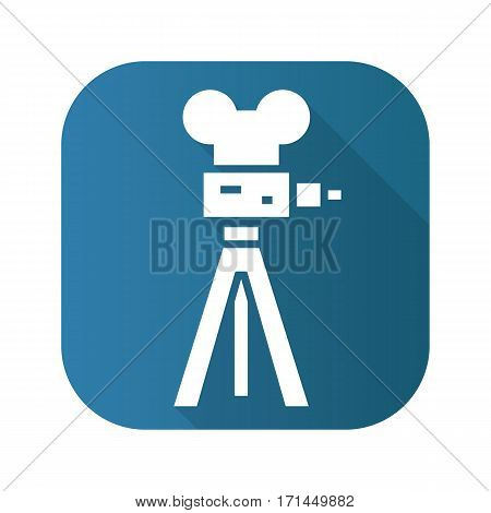 Film camera flat design long shadow icon. Vector silhouette symbol