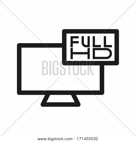 Full HD television linear icon. Thin line illustration. Vector isolated outline drawing
