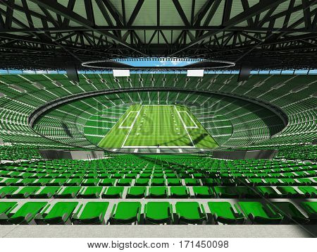 3D Render Of A Round Football Stadium With Green Seats For Hundred Thousand Fans