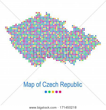 Colorful map of czech republic vector dot pattern