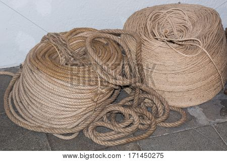 New nice Stack of two rolled ropes.