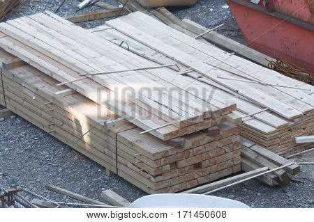 New Stack of wooden beams and planks.