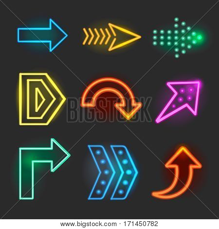 Neon realistic arrows signs, pointer set showing direction illustration Neon on black background