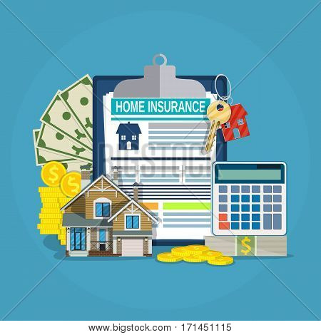 home insurance form concept. house keys, house, calculator, clipboard and money. Vector illustration in flat style.