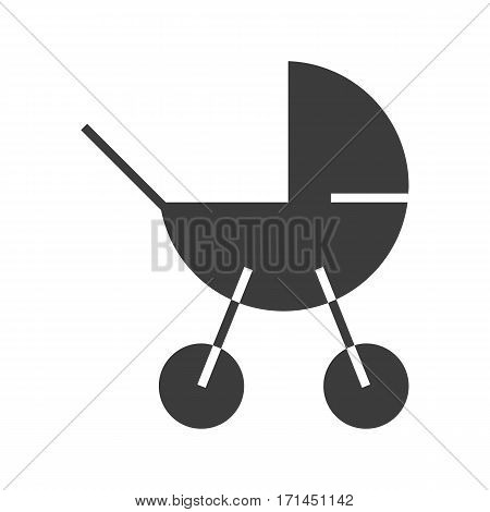Baby carriage icon. Drop shadow silhouette symbol. Negative space. Vector isolated illustration