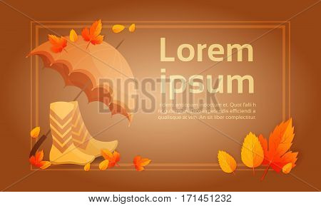 Yellow Leaf Autumn Umbrella Boots Fall Banner Abstract Background Flat Vector Illustration