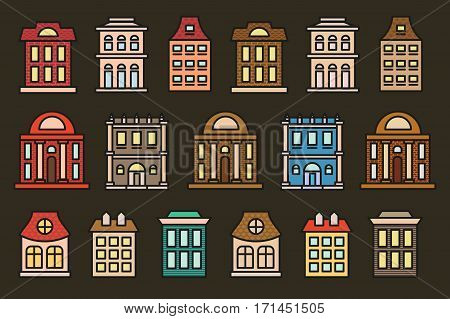 Isolated colorful low-rise municipal houses in lineart style icons collection, elements of urban architectural buildings vector illustrations set