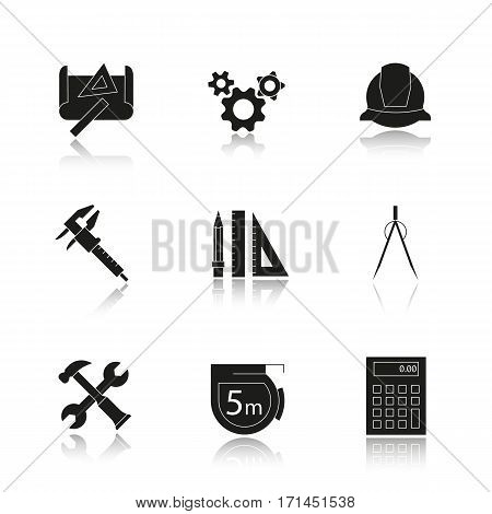 Engineering drop shadow black icons set. Drawing, gears, helmet, caliper, divider, hammer and wrench, measuring tape, calculator, pencil with rulers symbol. Isolated vector illustrations