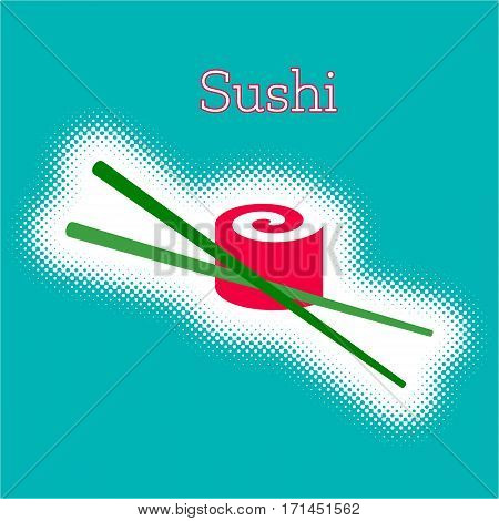 Vector sushi roll with chop sticks halftone design