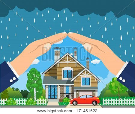 Home insurance concept. Hands protecting house from danger. Insurance business. Vector illustration in flat design.