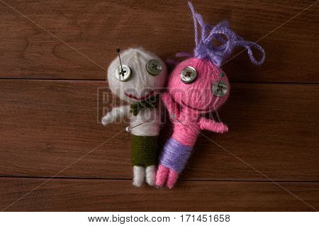 Cute Little Voodoo Dolls with pins in eyes.Top veiw