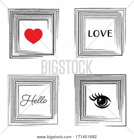Vector vintage card with decorative grunge square frames