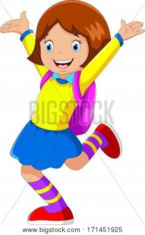 Vector illustration of happy girl with backpack going to school
