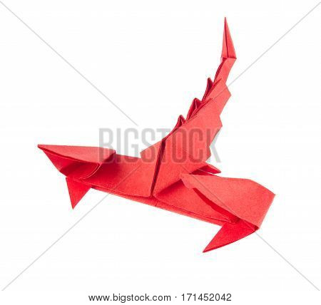 Red scorpion of origami. Isolated white background