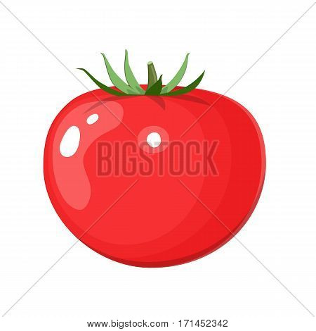 Fresh red tomato vegetable isolated icon. tomato for farm market, vegetarian salad recipe design. Organic food. vector illustration in flat style