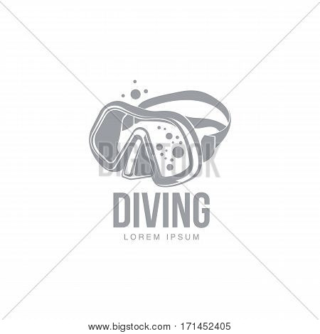 Black and white graphic diving logo template with diver mask, vector illustration isolated on white background. Scuba diving, snorkeling logotype, logo design with stylized mask, front view