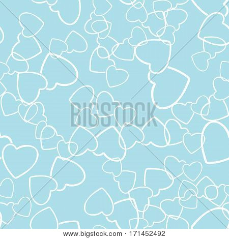 Two hearts seamless pattern. White pairs of heart symbols randomly placed on sky blue background. Love wrapping texture for Valentine day gift or greeting card design. Vector eps8 illustration.