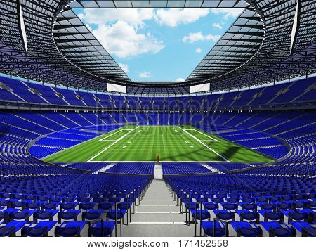 3D Render Of A Round Football Stadium With Blue Seats For Hundred Thousand Spectators